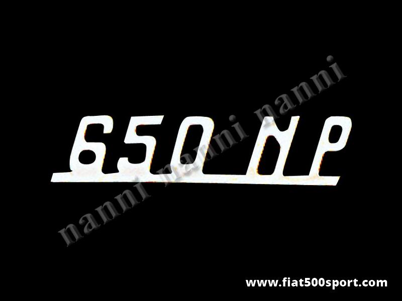 "Art. 0580 - Scritta Giannini cromata ""650 NP"" per cruscotto. - Scritta cromata ""650 NP"" per cruscotto Giannini. Lunghezza 70 mm."