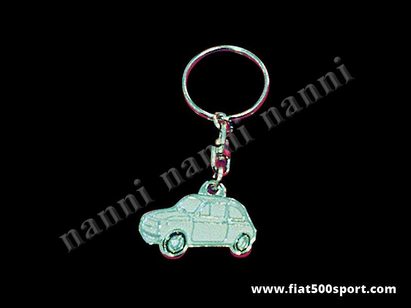 Art. 0615 - Fiat 500 enamel emblem key ring, many colours. - Fiat 500 enamel emblem key ring, many colours.