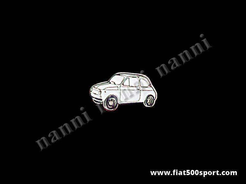 Art. 0620bia - Spilla Fiat 500 smaltata, bianco - Spilla 500 smaltata, bianco