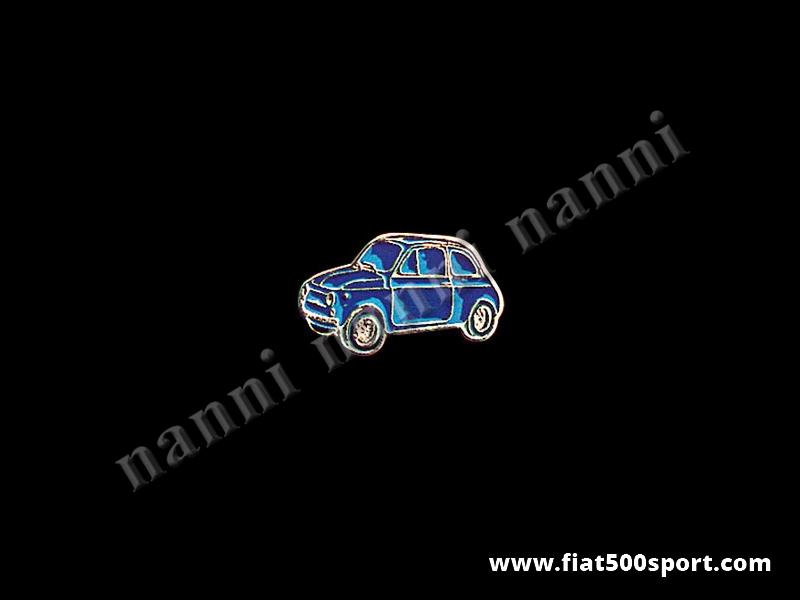 Art. 0620blu - Spilla Fiat 500 smaltata, blu - Spilla 500 smaltata, blu