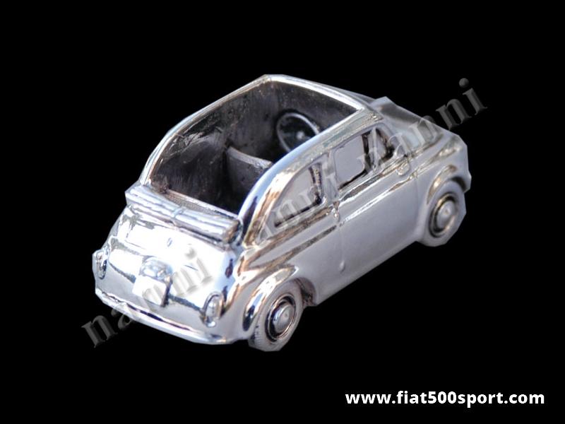 Art. 0621 - Modellino Fiat 500 in metallo silver plate misura media 6,5 cm. - Modellino 500 in metallo silver plate misura media 6,5 cm