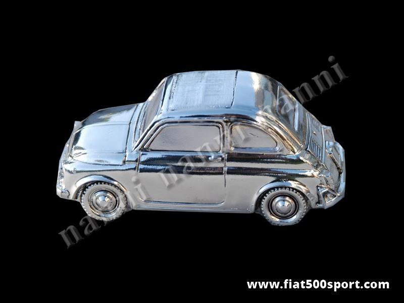Art. 0622 - Modellino Fiat 500 in metallo silver plate misura grande 12 cm. - Modellino 500 in metallo silver plate misura grande 12 cm.