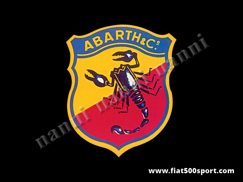 Art. 0636 - Decalcomania Abarth originale anni '60  alta 9,8 cm. - Decalcomania Abarth originale anni '60 alta 9,8 cm. Si mette a bagno nell'acqua per poi attaccarla al vetro o alla carrozzeria.