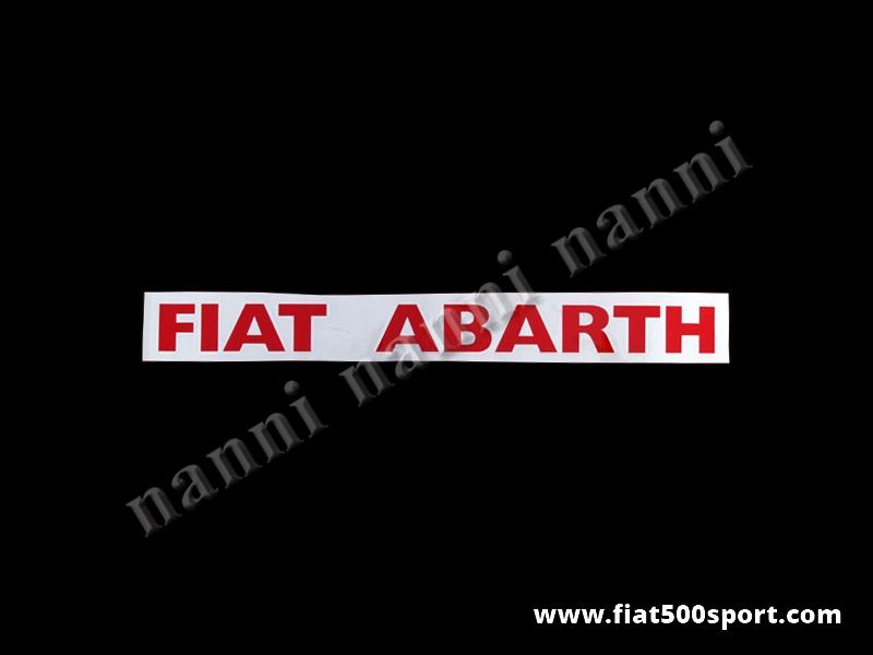 "Art. 0645red - ""Fiat Abarth"" red side decals under lateral window (2 pieces). - ""Fiat Abarth"" red side decals under lateral window (2 pieces). Total length cm. 38,5. High cm. 3,5"
