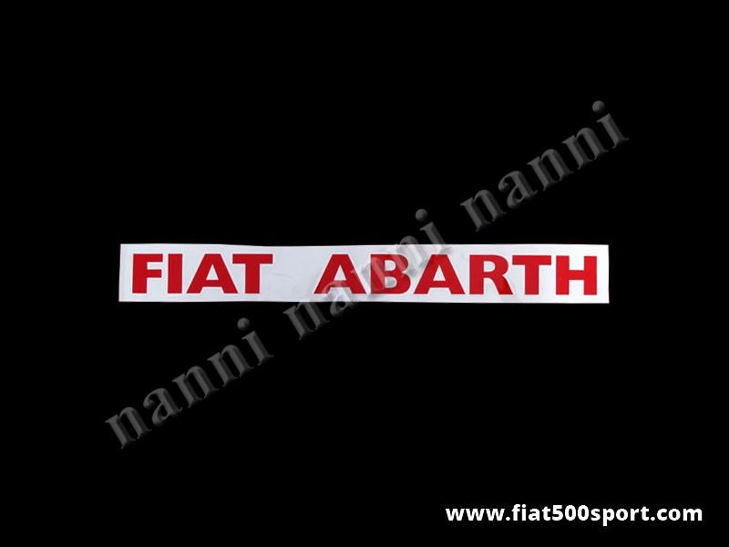"""Art. 0645red - Scritt """"Fiat Abarth"""" rosse (sotto finestrini laterali posteriori) - 2 scritte adesive """"Fiat Abarth"""" rosse. Lunghezza totale cm 38,5. Altezza cm. 3,5. (vanno sotto i finestrini laterali posteriori)"""