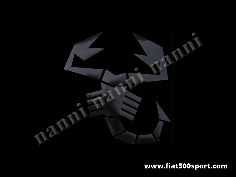 Art. 0652nero - Scorpione Abarth nero originale alto cm.29. - Scorpione adesivo nero della stessa misura dell'originale Abarth posizionato sul cofano anteriore. E' alto cm. 29, pre-spaziato che non fa spessore.