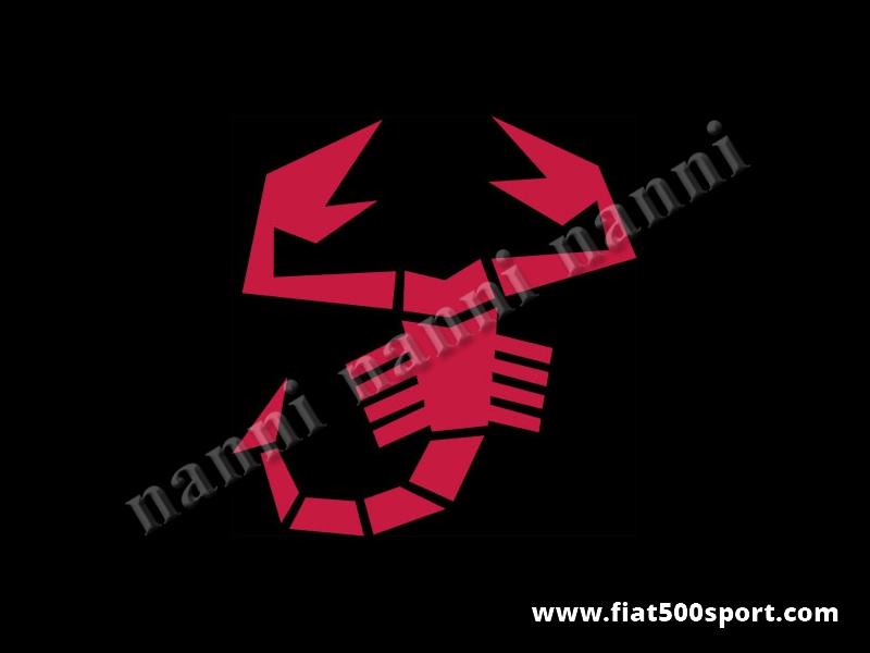 Art. 0652red - Scorpione Abarth rosso originale alto cm. 29. - Scorpione adesivo rosso della stessa misura dell'originale Abarth posizionato sul cofano anteriore. E' alto cm. 29, pre-spaziato che non fa spessore.