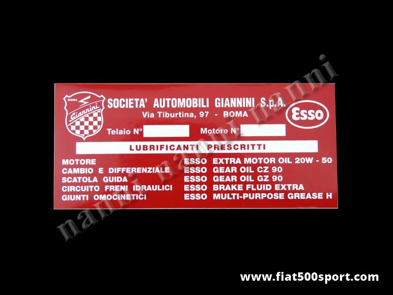 Art. 0666 - Adesivo Giannini per serbatoio benzina. - Adesivo per serbatoio benzina Giannini