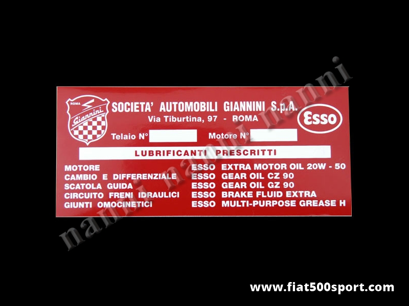 Art. 0666 - Sticker Giannini petrol tank. - Petrol tank Giannini sticker.
