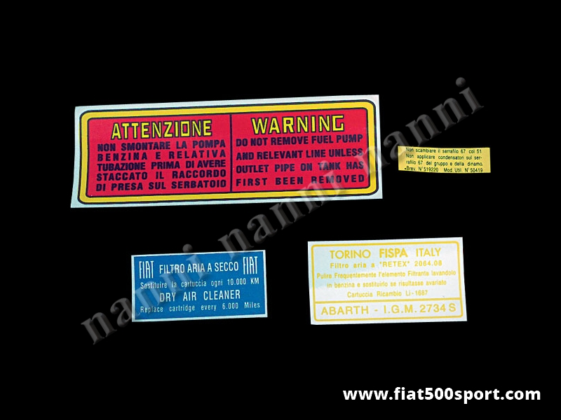 Art. 0671 - Stickers set for engine (4 pieces). - Stickers set for engine (4 pieces).