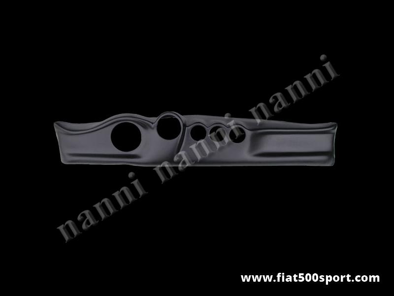 Art. 0715G - Cruscotto Fiat 500 verniciato nero con fori per contagiri e contachilometri Ø 100 e Ø 80. - Cruscotto Fiat 500 verniciato nero con fori per contagiri e contachilometri Ø 100 e Ø 80. Nostra produzione.