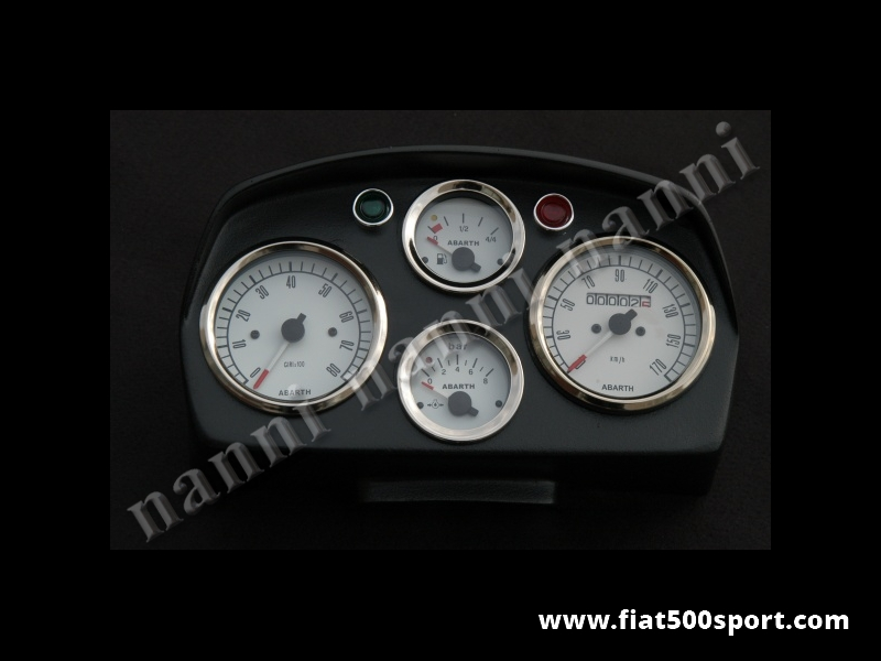 Art. 0720bia - Fiat  500 L Abarth dashboard with white instruments. - Fiat 500 L Abarth dashboard (white instruments diam. 80 mm. 2 gauge and red and green lights. All the details are new, made in Italy.