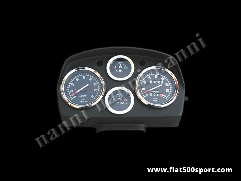 Art. 0720nero - Fiat  500 L Abarth dashboard with black instruments. - Fiat 500 L Abarth dashboard (black instruments diam. 80 mm. 2 gauge and red and green ligths. All the details are new, made in Italy.