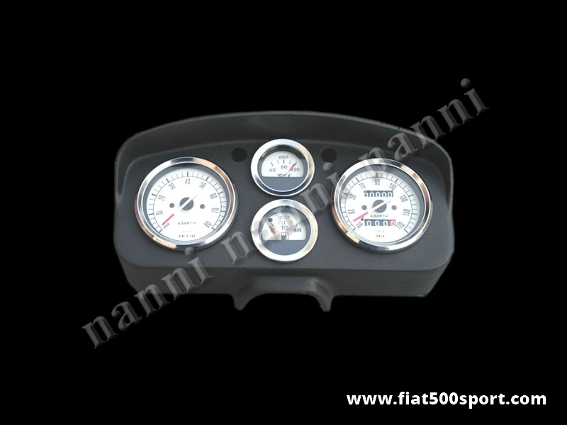 Art. 0721bia - Fiat 500 D F R Abarth dashboard with white instruments. - Fiat 500 D F R Abarth dashboard with white instruments diam. 80 mm. 2 gauge and red and green ligths. All the details are new, made in Italy.
