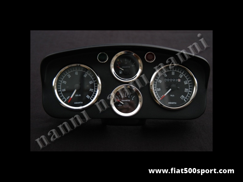 Art. 0721nero - Fiat 500 D F R Abarth dashboard with black instruments. - Fiat 500 D F R Abarth dashboard with black instruments diam. 80 mm, 2 gauge and red and green lights. All the details are new, made in Italy.