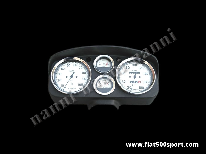 Art. 0722bia - Fiat 500 D F R Abarth dashboard with white instruments. - Fiat 500 D F R Abarth dashboard with white instruments diam. 100 mm. 2 gauge and red and green lights. All the details are new, made in Italy.