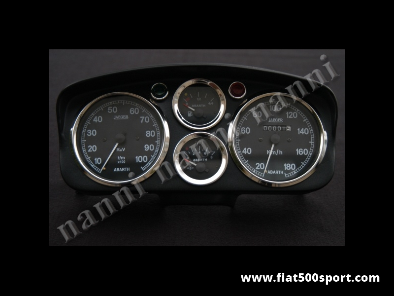 Art. 0722nero - Fiat 500 D F R Abarth dashboard with black instruments. - Fiat 500 D F R Abarth dashboard whith black instruments diam. 100 mm. 2 gauge and red and green lights. All the details are new, made in Italy.