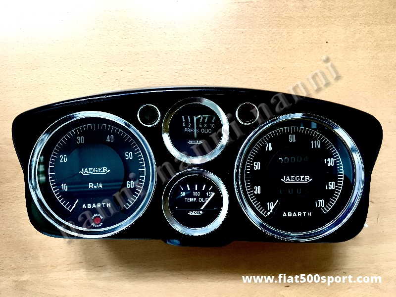 Art. 0723 - Fiat Abarth 595 and 695 original dashboard. - Fiat Abarth 595 and 695 original dashboard whith 2 instruments diam.100 mm. 2 gauge and red and green lights. All the details are new, made in Italy.