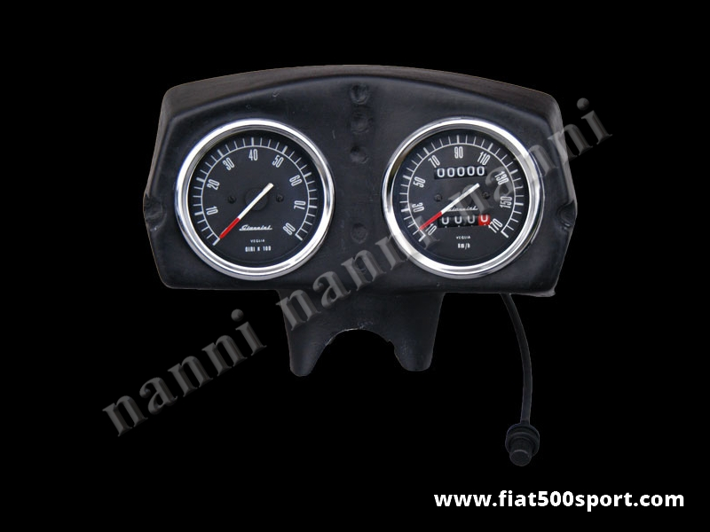 Art. 0725 - Fiat 500 Giannini dashboard. - Fiat 500 Giannini dashboard with 2 instruments diam. 80 mm. All the details are new, made in Italy.