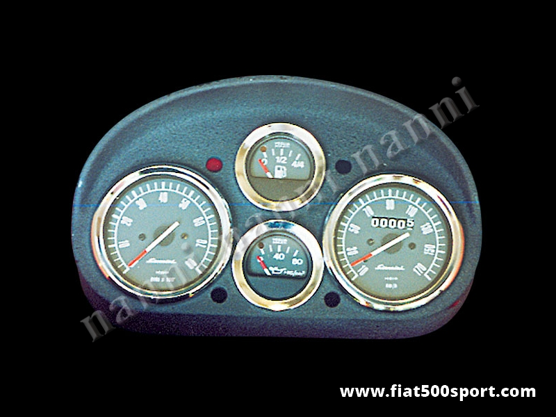 Art. 0726 - Fiat 500 L Giannini dashboard. - Fiat 500 L Giannini dashboard with 2 instruments diam.80 mm. 2 gauge and red and green lights. All the details are new, made in Italy.