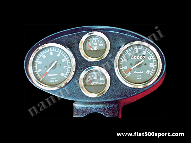Art. 0727 - Fiat 500 D  F  R Giannini dashboard. - Fiat 500 D F R Giannini dashboard with 2 instruments diam. 80 mm. 2 gauge and green and red ligths. All the details are new, made in Italy.