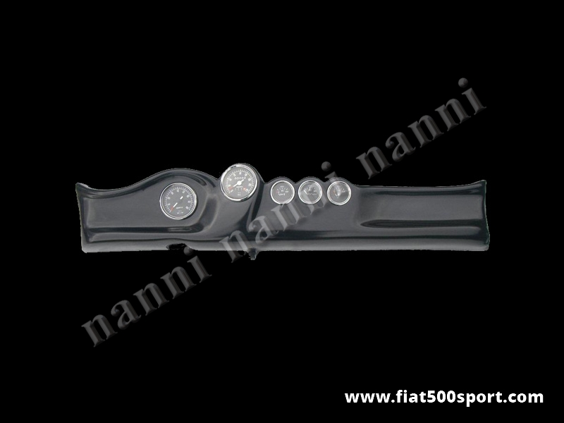 Art. 0732 - Fiat 500 dashboard with black instruments diam. 80 mm. and 3 gauge. - Fiat 500 dashboard with black instruments diam. 80 mm. and 3 gauge(oil pressure,oil temperature and fuel level). All the details are new, made in Italy.