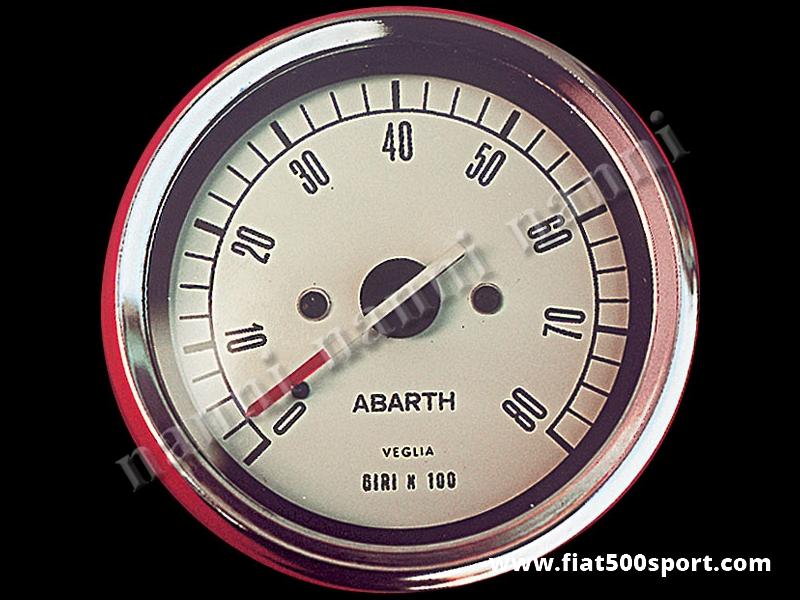 Art. 0741 - Contagiri Abarth bianco Ø 80 mm, nuovo, elettronico. - Contagiri nuovo Abarth bianco Ø 80 mm, Elettronico