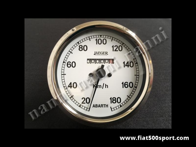 Art. 0744 - Tachimetro Abarth Jaeger bianco nuovo Ø 100 mm. - Tachimetro Jaeger Abarth Bianco nuovo, Ø 100 mm. senza contachilometri parziale.