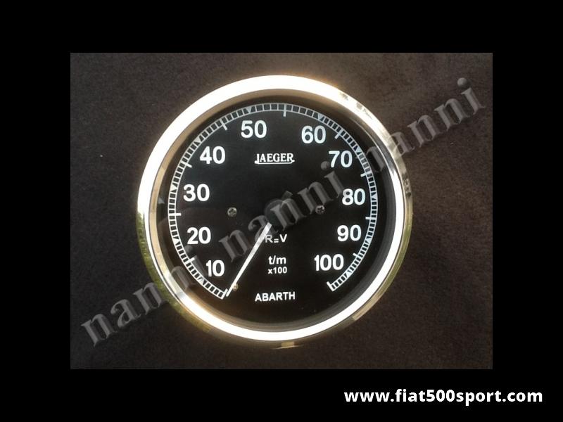 Art. 0747 - Contagiri Abarth  Jaeger nero, nuovo Ø 100 mm, Elettronico - Contagiri Jaeger Abarth Nero, nuovo Ø 100 mm, Elettronico