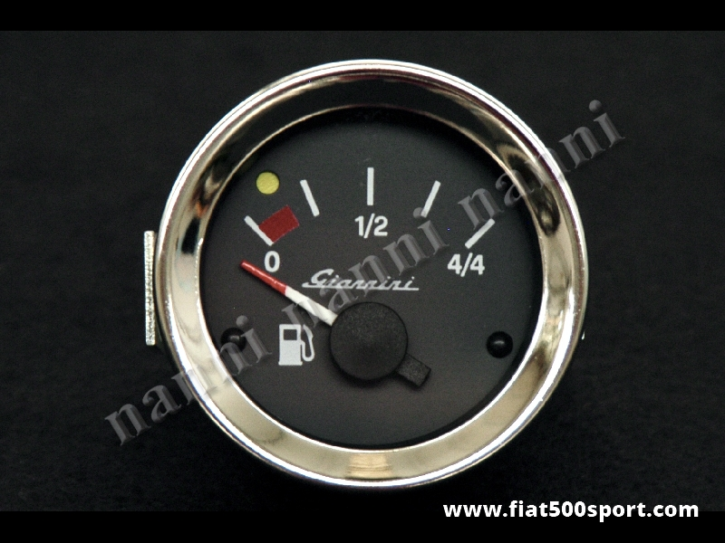 Art. 0770G - Manometro Giannini livello benzina nero, nuovo, diametro 52 mm. - Manometro Giannini livello benzina quadrante nero, nuovo, diametro 52 mm.
