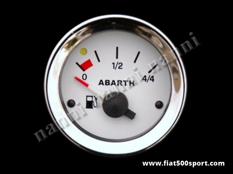 Art. 0776 - Abarth  fuel level gauge, white. - Abarth diam. 52 mm. fuel level gauge, white.