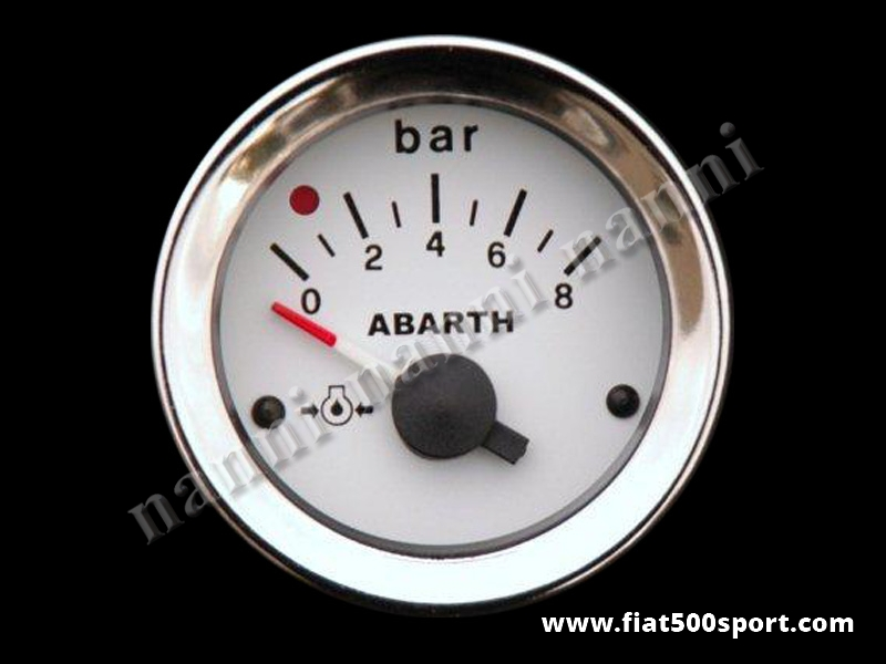 Art. 0777 - Manometro Abarth pressione olio bianco, nuovo. - Manometro Abarth pressione olio bianco, nuovo, diametro 52 mm.