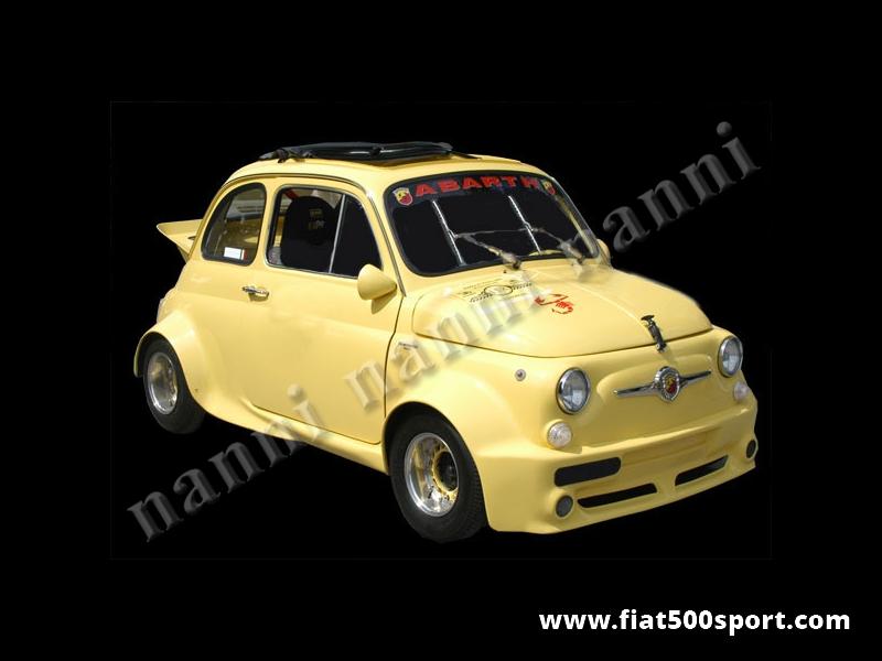 """Art. 0842 - Parafanghi Fiat 500 NANNI """" gruppo 5"""" (allargano la vettura di 10 cm per lato). - Serie parafanghini Fiat 500 NANNI """"ex gruppo 5"""" (allargano la vettura di 10 cm per lato). Si possono montare con rivetti o con mastice e si possono verniciare in qualsiasi colore. Kit di 4 pezzi."""