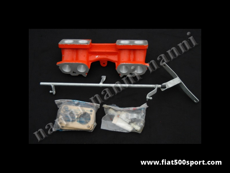 Art. 0907 - Inlet manifold Alquati for Fiat 128, X1/9, Ritmo to apply  2 carburettors  Ferrari Dino Weber DCNF. - Inlet manifold Alquati for Fiat 128 X1/9 Ritmo to apply 2 carburettor Ferrari Dino Weber DCNF.